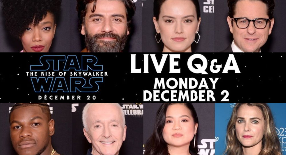 The Rise Of Skywalker Livestream Q A With The Cast Tomorrow Monday 2nd December Fantha Tracks